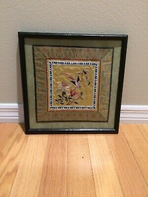 Vintage Asian 100% Silk Embroidery Square Black Bamboo Frame, Home Decor, Glass