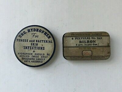 Lot of 2 Pharmacy Tins : Pulvules No 241 & Ung Hydrophan Fungus Bacterial