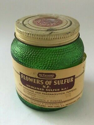 McKesson's Flowers of Sulfur Sublimed W.F. Pharmacy Green Glass Container