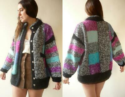 1980's Vintage Slouchy Patchwork Hand Knitted Fluffy Mohair & Wool Cardigan