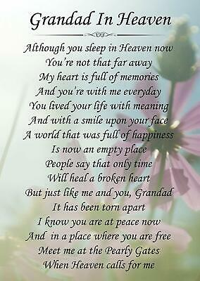 Grandad In Heaven Memorial Funeral Graveside Poem Card & Free Stake F145