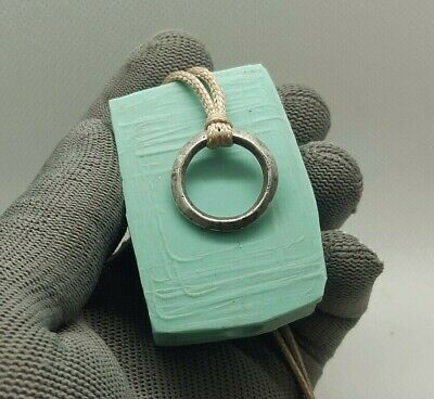 Perfect Ancient Artifact Celtic Silver Ring Pendant Proto Money Pre - Coin #297