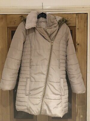 girls coat 11-12 years Cream Coat With Faux Fur Lining