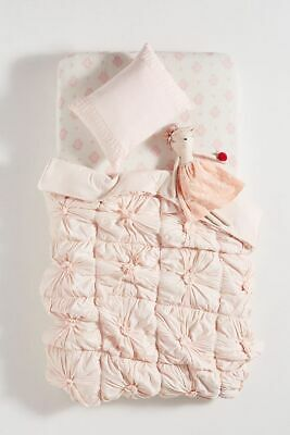 "Anthropologie Pink Rosettes Toddler Crib Quilt 39"" x 58"""