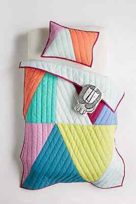 """New Anthropologie Triangles Toddler Quilt Multi Color 38"""" x 50"""""""