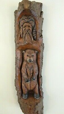 Wood Spirit Carvings Mountain Man Muzzle Loader Bear by JD Rogers