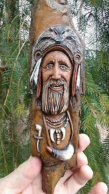 Wood Spirit Carvings Mountain Man Muzzle Loader woodsman by JD Rogers