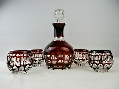 Antique,Vintage,Cranberry to Clear,Decanter and 4 Tumblers,Bohemian,Lovely Set !
