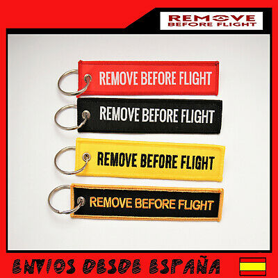 REMOVE BEFORE FLIGHT Llavero Tela  Aviacion llaves coche 13x3Cm Avion