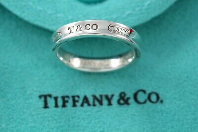 Tiffany & Co. 1837 Sterling Silver Narrow Ring Band Size 7 w/ Pouch
