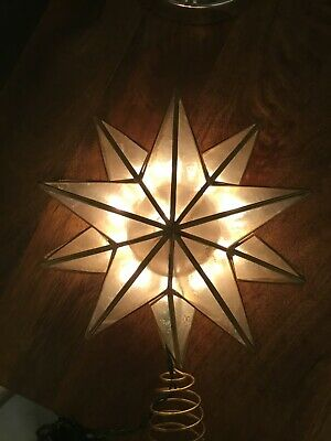 "Kurt S. Adler 10"" Lighted Capiz Star Christmas Tree Topper - Clear Lights"