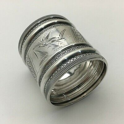 "Fabulous Aesthetic Bright Cut Engraved Sterling Silver Napkin Ring ""G.J.E."" S127"