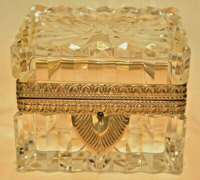 Antique French Crystal Cut Glass Gilt Bronze Ormolu Jewelry Casket Trinket Box