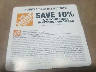 Home Depot coupon 10% off entire purchase.