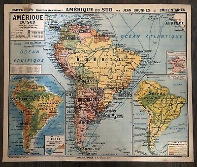 Vintage Large French School Map 'South America' Amerique du Sud N20