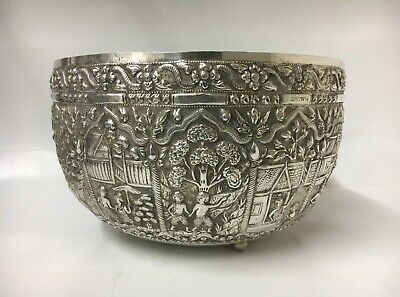 "Fine Asian Burmese Thai Sterling Silver Centerpiece Fruit Punch Bowl 13"" D 900Gr"