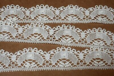BEAUTIFUL VINTAGE ANTIQUE HANDMADE LACE TRIM 145cm x 4cm