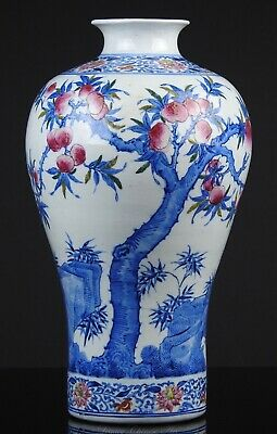 A Fine Large Antique Chinese Yongzheng Marked 19th C. BW Enamelled Meiping Vase
