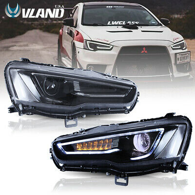 VLAND Full Black Audi Style LED Headlights for Mitsubishi Lancer EVO X 2008-2017