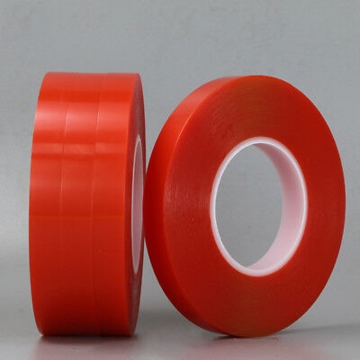 50M Double Sided Super Sticky Clear Tape Red Strong Craft DIY Roll 3 5 8 10mm UK