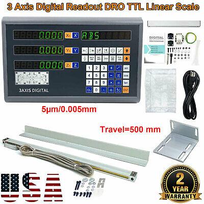 3Axis Digital Readout DRO Display 5µm TTL Linear Scale Encoder for Milling Lathe