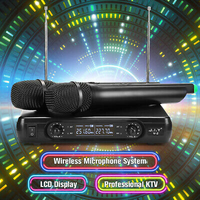 2 Channel Professional VHF Wireless Dual Microphone Cordless Handheld Mic KTV DJ