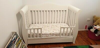 Baby Direct Deluxe Plus Sleigh Cot with Drawer Coverts to Toddler Bed & Mattress