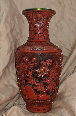 Vintage Chinese Cinnibar Colored Lacquer on Brass Vase, Carved Flowers Vase