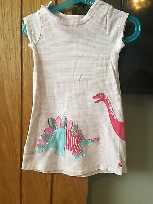 Girls Joules Pink Stripe Dinosour Dress Tunic Age 2