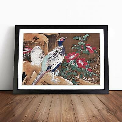 Pheasant Flowers Floral Asian Bird Ogata Tomin Wall Art Framed Picture Print
