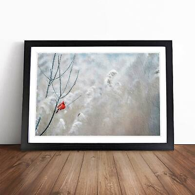 Red Cardinal Bird Flowers Floral Animal Wall Art Framed Picture Print