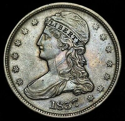 1837 Capped Bust Half Dollar, Great Details, Reeded Edge,  Sale