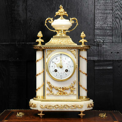 Antique French White Marble and Ormolu Louis XVI Boudoir Clock