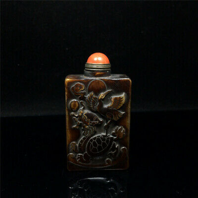 "2.91"" Chinese exquisite Ox horn Hand-carved Crane Dragon Turtle Snuff bottle"