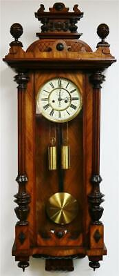 Sublime Antique A Willman & Co Twin Weight Walnut Vienna Regulator Wall Clock