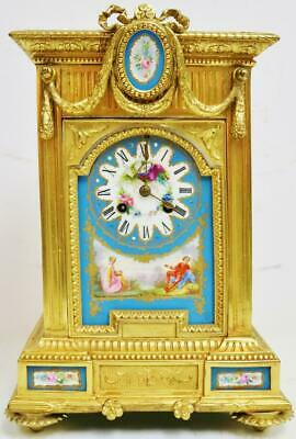 Beautiful Antique French 8 Day Gilt Metal & Blue Sevres Porcelain Mantle Clock