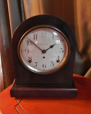 Antique Seth Thomas Arch Top Mahogany Mantle Clock Leader Model - works - no key