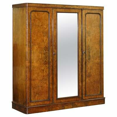 Rare Mid Victorian G Trollope & Sons Burr Walnut Triple Wardrobe Original Glass