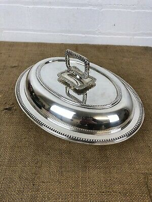 Antique Silver Plated Serving / Appetiser Entree Warmer Dish