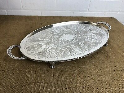 "Vintage Silver Plate Gallery Serving Tray Vinners Sheffield Made 22"" Claw Feet"