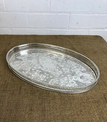 Vintage Silver Plate Gallery Serving Tray Sheffield Viners Made 15""