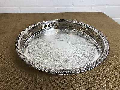 """Vintage Silver Plate Gallery Serving Tray Sheffield Made Circular Tray 12"""""""