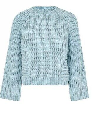 Girls River Island Blue Chenille Knit Jumper Age 5-6 New & Sold Out £22