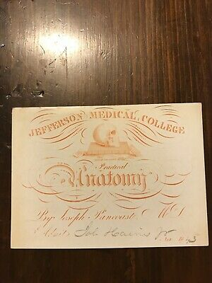 1844 Medical Lecture Ticket Anatomy Skull Signed Pancoast Jefferson Med College
