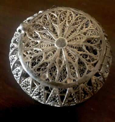 Vintage 925 Sterling Silver Filigree Trinket, Jewelry, Pill, or Gift Box Hinged