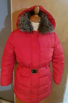 Girls M&S Red  Zip Up Hooded Puffa Winter  Coat Age 9-10 Years - Mint Condition
