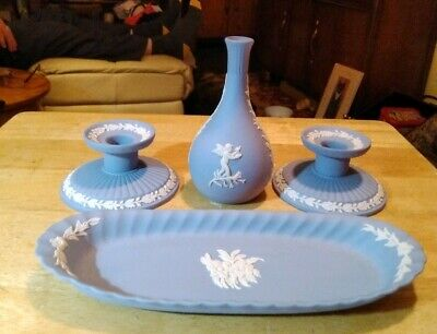 Group Of Four Blue Piece Of Wedgwood, Pair Of Candlesticks,  posy Vase, tray