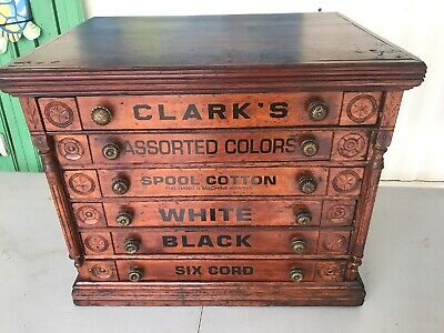 Antique Country Store Display Clark's Six Drawer Spool Cabinet Birds On Sides
