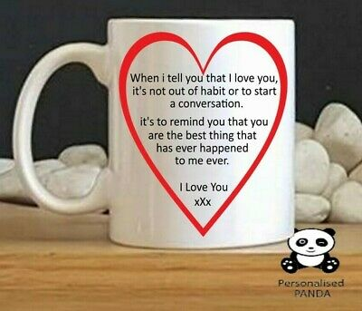 Personalised Mug Valentines, anniversary Romantic cup Gift for her him Love you