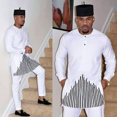African Embroidery Top And Pants Dashiki Clothes For Men No Cap Shirt Pants Set